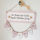 Personalised Hand Made Family Tree With Seven Hearts